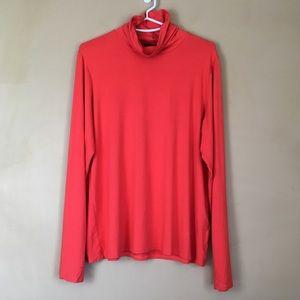 Eileen Fisher Long Sleeve Shirt L Turtleneck Red